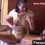 Dirty Scat Girl Smears Shit All Over Her Body During Exciting Webcam Session