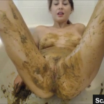 Amazing Scat Teen Shits And Smears Poop While In Bathtub Masturbating On Webcam