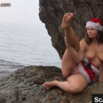 Girl In Xmas Clothing Shits Near The Water And Smears Scat Live